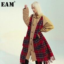 [EAM] mallas a cuadros para mujer, ambos lados, vestir la talla grande, gabardina, solapa nueva, manga larga, corte holgado, cortavientos, moda Primavera 2020 1M976