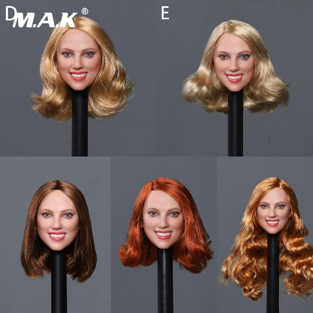 PTtoys 1//6 Scarlett Johansson Black Widow Head Carving W //Braid Collections Gift