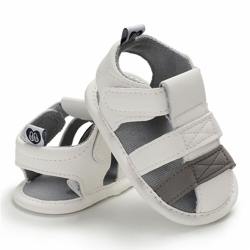 Newborn Baby Boy Girl Soft Sole White Crib Shoes Casual PU Sandals Toddler Summer Sandals Size 0-18 M