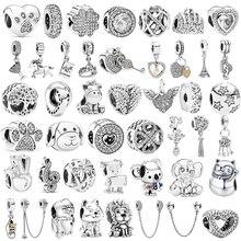 2020 neue Silber Farbe Glück Katze Lion Sicherheit Kette Hund Eule Bead Fit Pandora Charms Armband DIY Frauen Original Perlen schmuck