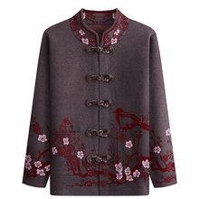 Autumn Winter Jacket Knitted Sweaters Elderly Women Cardigans Coat Plus Size Thick Warm Embroidery Cardigan Grandma Sweater Y446(China)