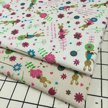Abrasion-Resistant Linen Cotton Fabric 100% Cute Rabbit Printed Canvas Cloth DIY Sewing Home Textile Crafts