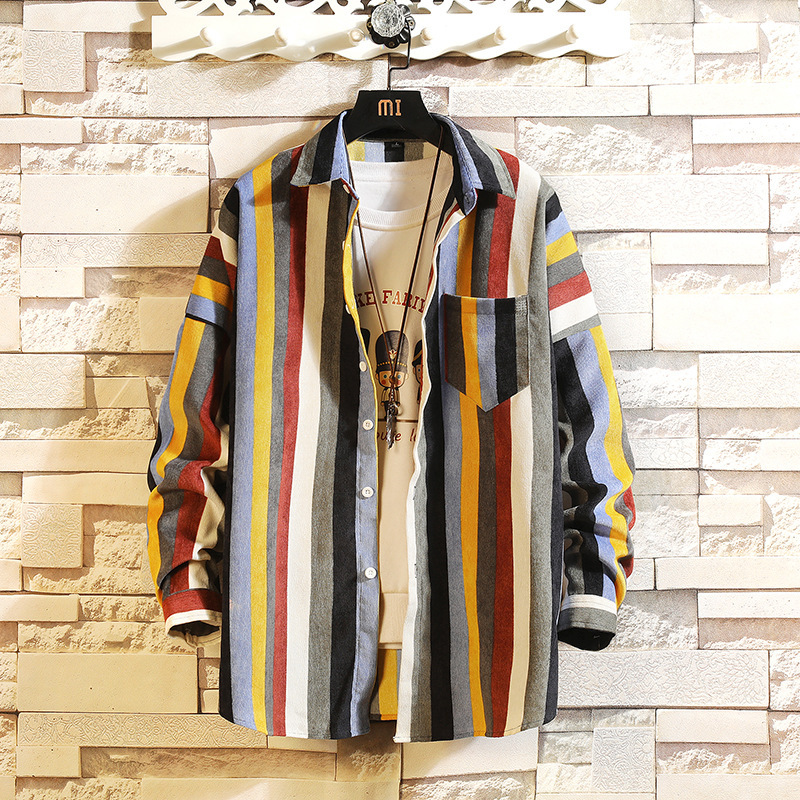 2019 New Style Fashion Men Spring Loose Casual Pure Cotton Long Sleeve Shirts/Male High Quality Stripe Casual Shirts S-5XL