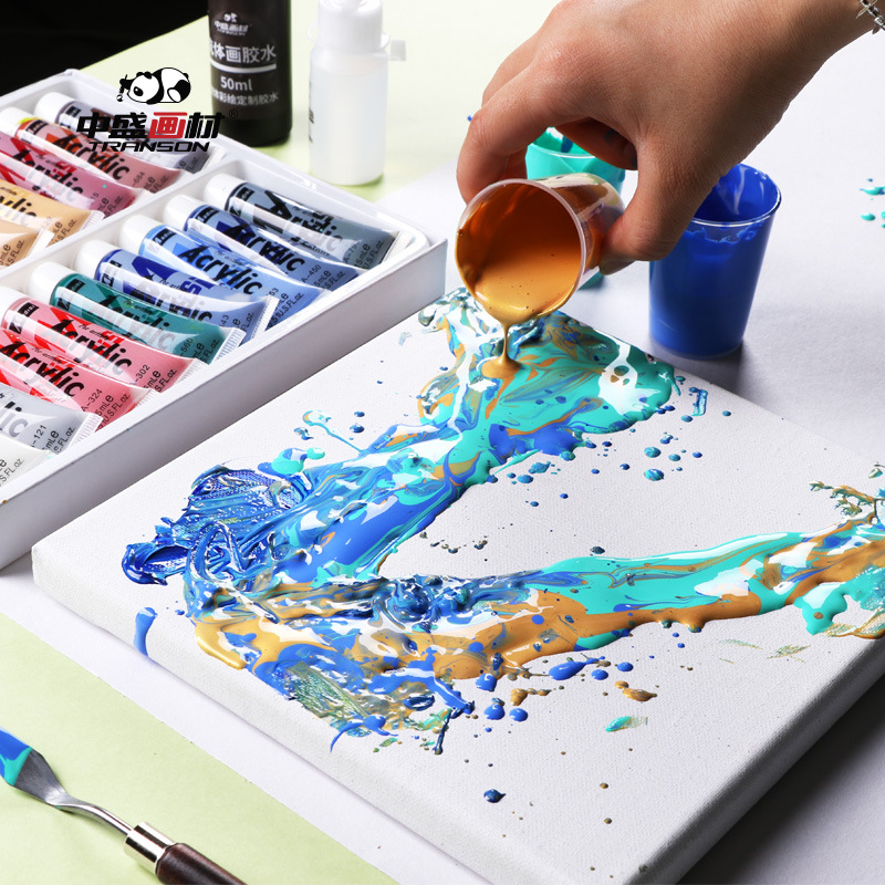 9 Pcs Wet Extension Fluid Painting Set Fluid Color Painting Tools DIY Materials Children Paint Graffiti Tools