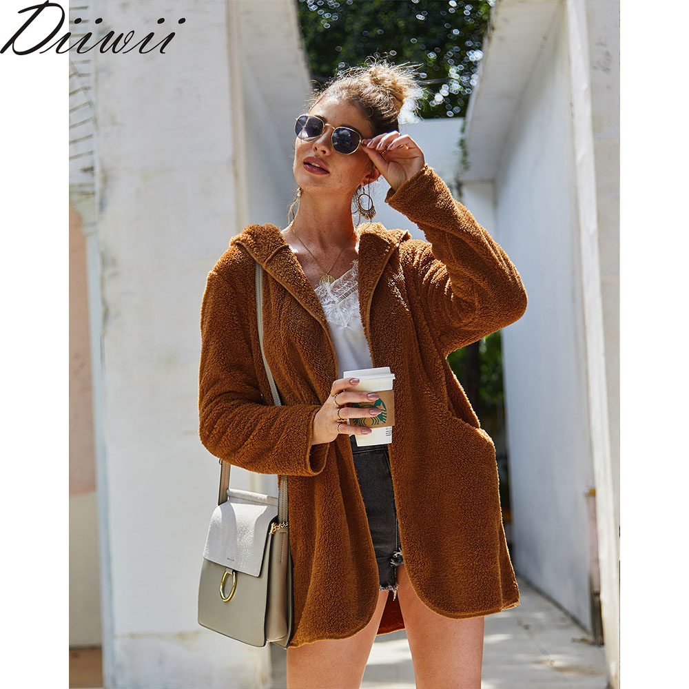 Diiwii Women For Autumn Originally Designed Winter thick Women Slim Jacket Women Outerwears Fleece Hooded Coats