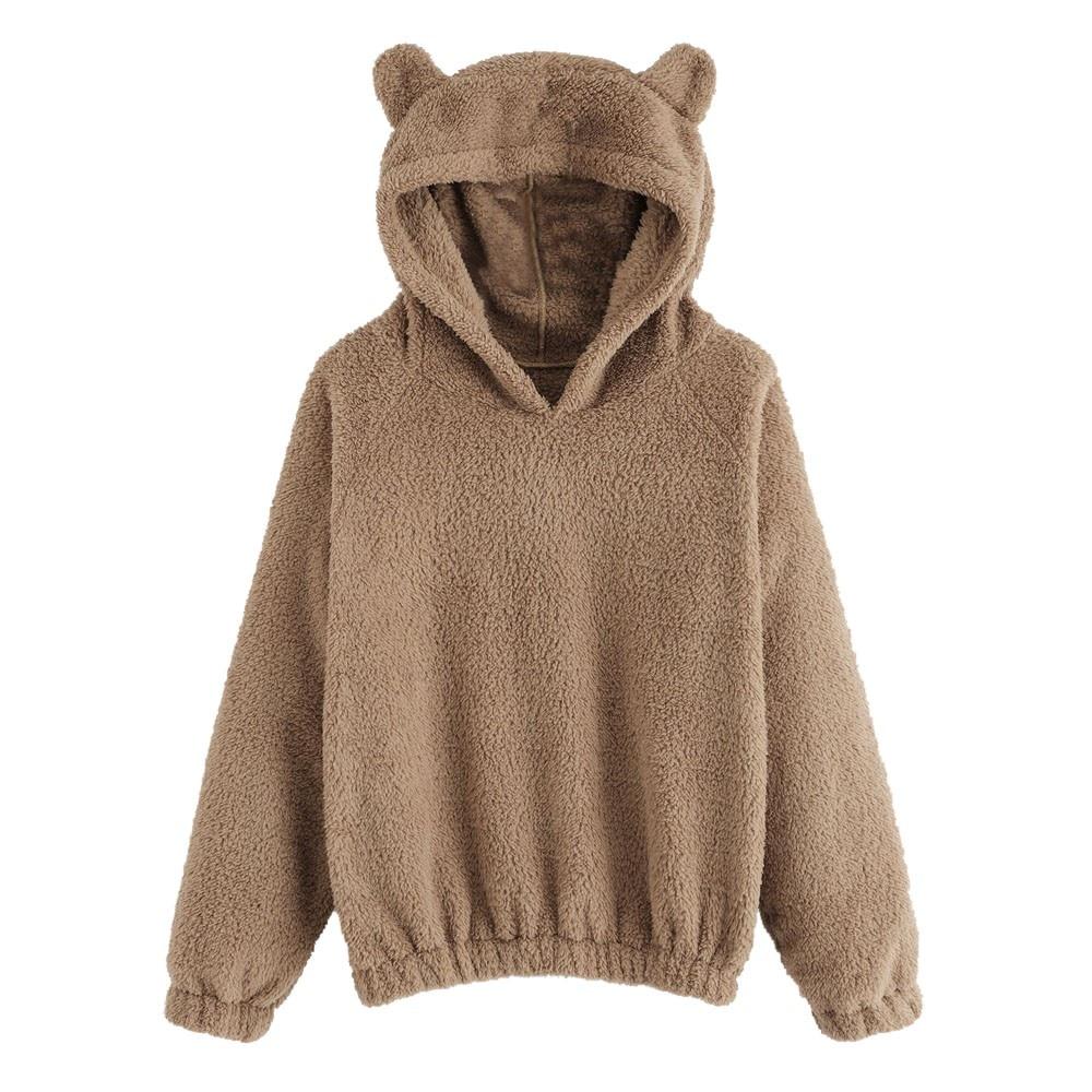 CALOFE Lovely Hoodies Bear Ears Women Solid Fleece Hoodie Autumn Winter Plush Warm Pullovers Campus Preppy Casual Sweatshirts