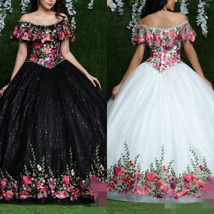 2020 Embroidery Quinceanera Dresses Off the Shoulder Custom Made Ball Gown Prom Dresses Special Occasion Party Wear