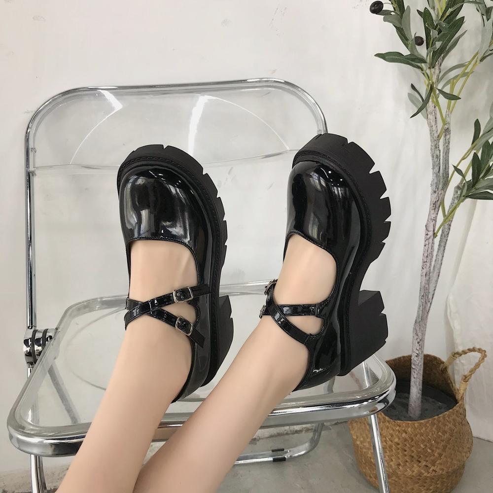 Lolita – chaussures à talons hauts pour femmes, Style japonais, Vintage, doux, pour filles sœurs, plateforme étanche, Costume Cosplay pour étudiantes 6