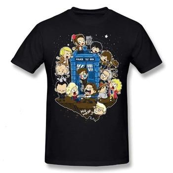 Doctor Who Cartoon Doctors around Tardis T-Shirt  1