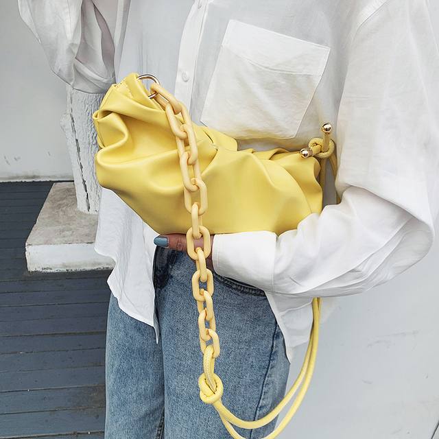 Fashion PU Leather Solid Color Cloud Bags For Women 2020 Thick Chain Shoulder Messenger Handbags New Luxury Cross Body Bag