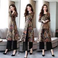 Chinese style printed two piece dress women 2018 new autumn temperament retro national style pants suit