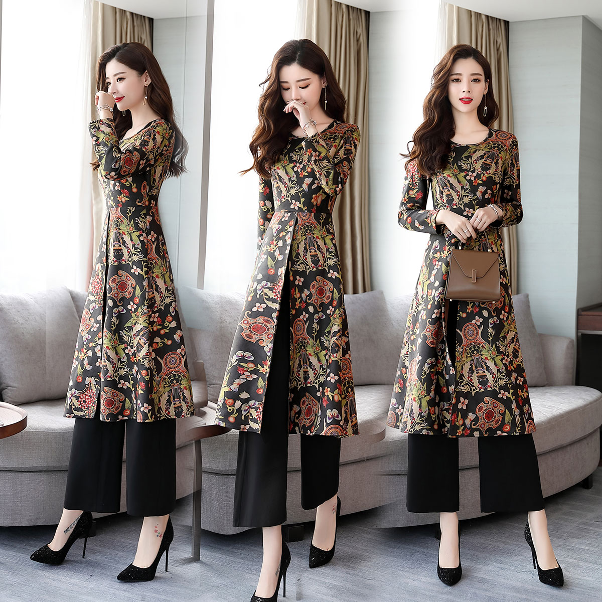 Chinese Style Printed Two-piece Dress Women 2018 New Autumn Temperament Retro National Style Pants Suit