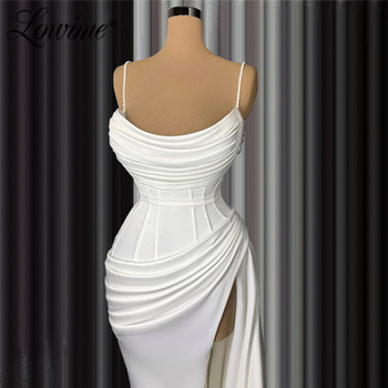 White Simple Party Dress 2020 Mermaid Custom Split Side Satin Evening Gowns Dubai Arabic Pleats Prom Dresses Vestidos De Fiesta - discount item  50% OFF Special Occasion Dresses