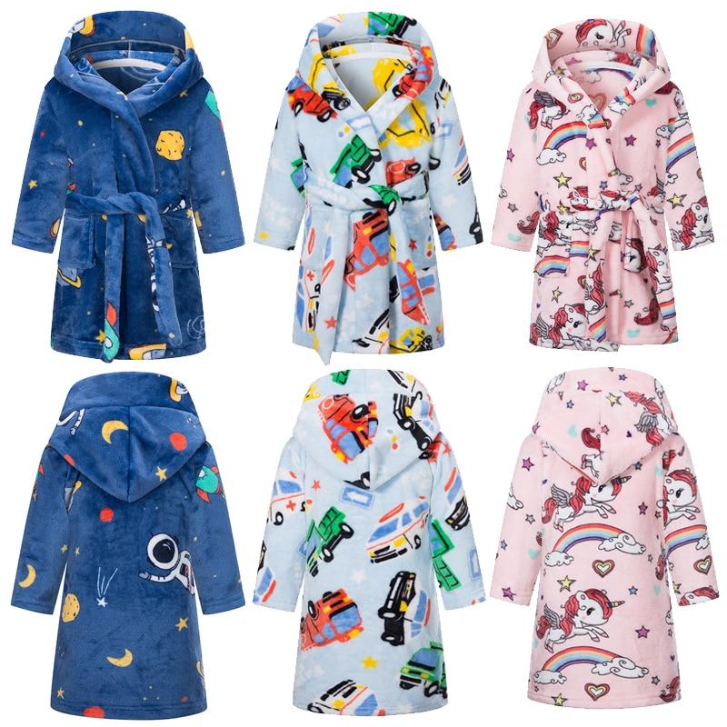 2020 new Unicorn hooded children's bathrobe baby rainbow bathrobe boys and girls pajamas pajamas children's pajamas 2-10y