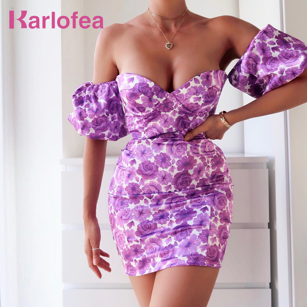 Karlofea Female Satin Floral Print <font><b>Dress</b></font> 2020 Summer Elegant Puff Sleeve Off Shoulder <font><b>Mini</b></font> <font><b>Dress</b></font> <font><b>Sexy</b></font> Party Outfits Clothes New image