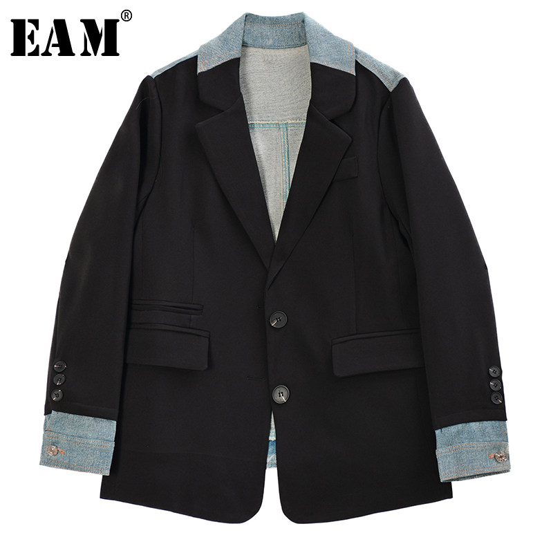 [EAM]  Women Black Back Denim Big Size Blazer New Lapel Long Sleeve Loose Fit  Jacket Fashion Tide Spring Autumn 2020 1R972