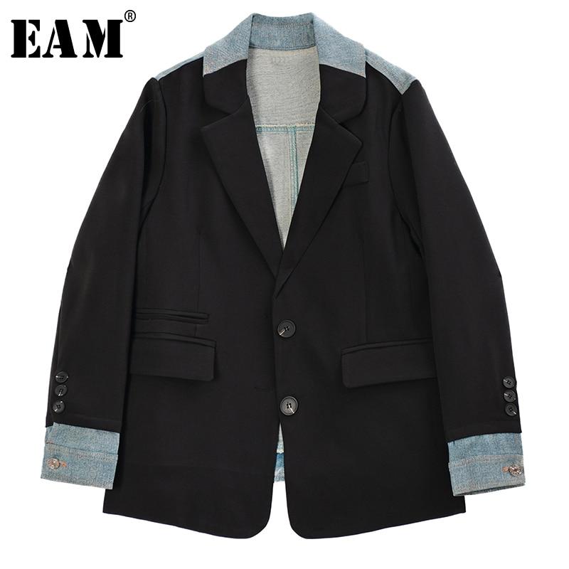 [EAM]  Women Black Back Denim Big Size Blazer New Lapel Long Sleeve Loose Fit  Jacket Fashion Tide Spring Autumn 2020 1R972