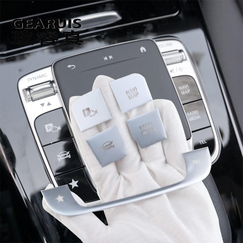 Araba Styling Mercedes Benz için bir B sınıfı W177 W247 W167 GLE GLS GLB merkezi konsol multimedya fare anahtarı düğmeleri kapak çıkartmalar
