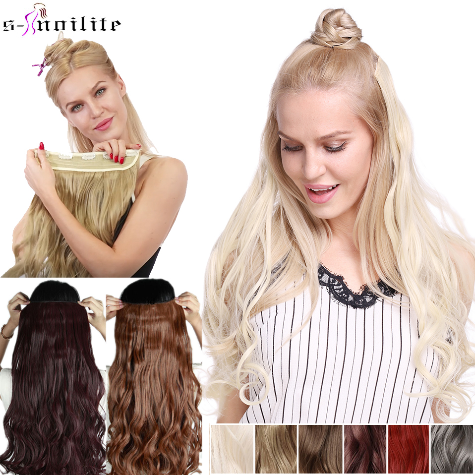 SNOILITE 23inch Long Wavy Clip In Hair Extension Synthetic 5 Clips In One Piece Hair Black Brown Ombre False Hairpiece For Women
