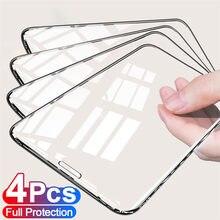Protector de pantalla de vidrio templado para iPhone, Protector de pantalla de cobertura completa para iPhone 11 12 Pro XS Max X XR 7 8 6 6S Plus SE2, 4 Uds.