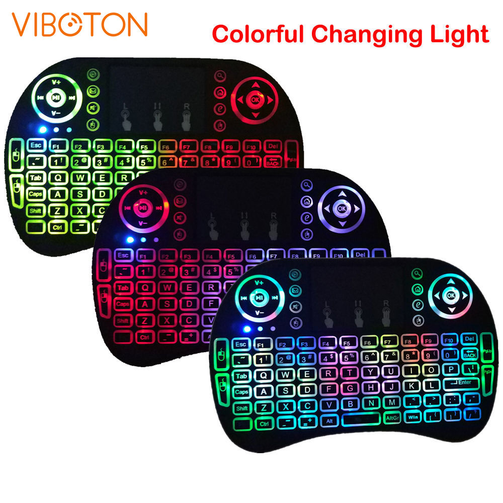 I8 Air-Mouse Touchpad Tv-Box Remote-Control  Russian Spanish English  Backlit  Mini 2.4Ghz Wireless Keyboard Gaming Keyboard