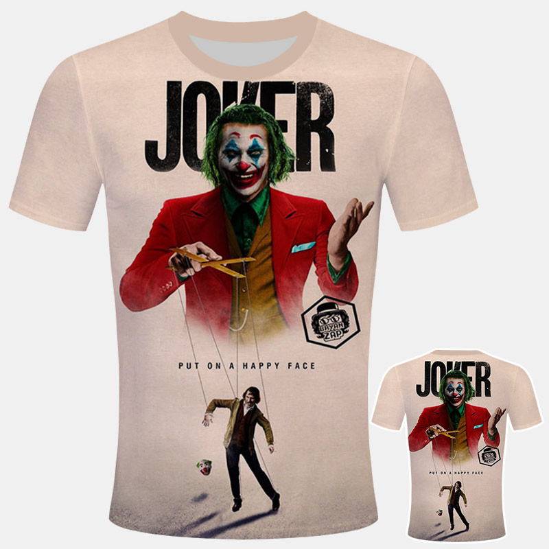 2019Summer Joker Costume T Shirt Men Fashion Casual T-shirts Anmie Character 3D Print Stranger Things Harajuku Style T Shirt Top