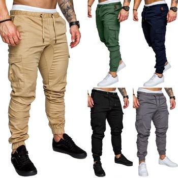 Mężczyźni Slim Fit Plaid proste nogawki spodnie męskie długi Casual Sport spodnie Slim Fit spodnie w kratę do biegania spodnie dresowe do biegania tanie i dobre opinie Cztery pory roku Spodnie cargo CN (pochodzenie) COTTON Na co dzień