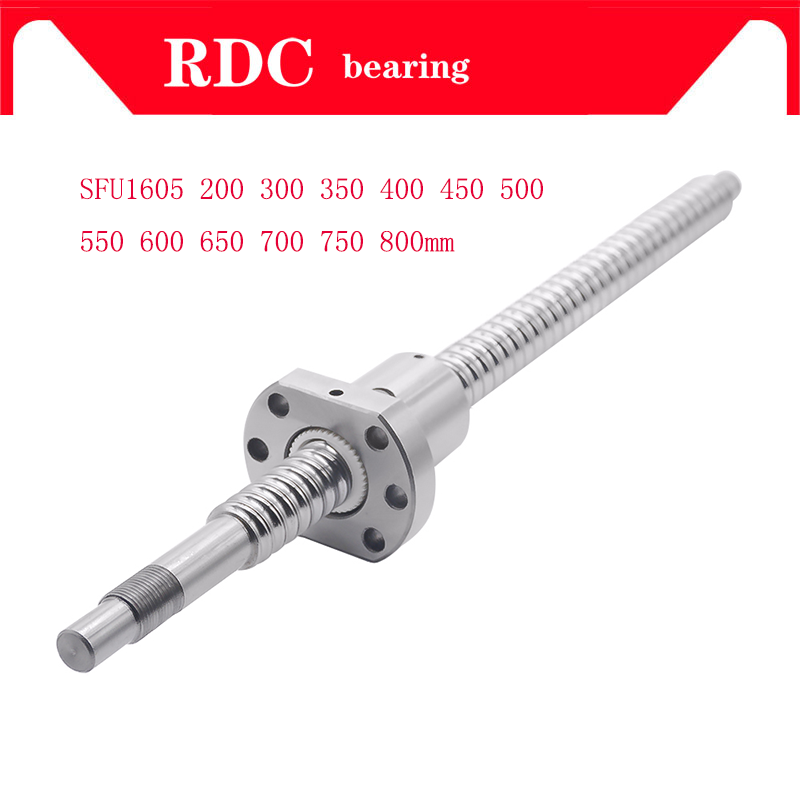 CNC Ball Screw C7 1605 flange single Ballnut BK/BF12 RM1605 End Machined CNC <font><b>SFU1605</b></font> 200 300 350 400 450 <font><b>500</b></font> 550 600 650mm image