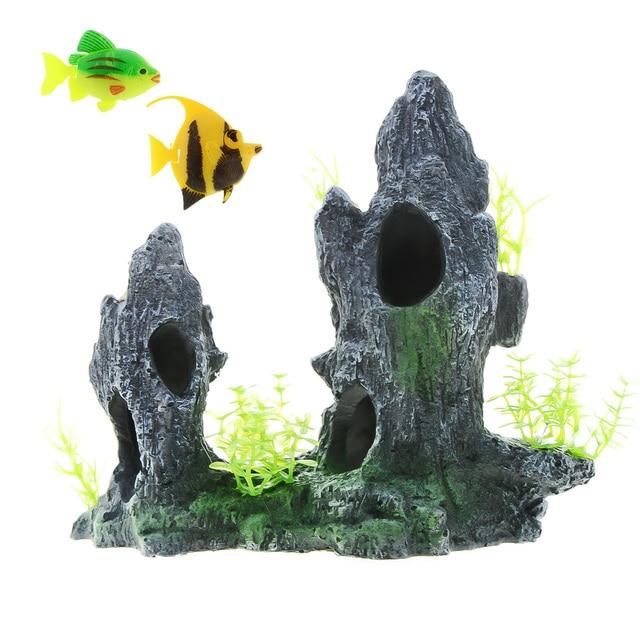 Mountain View Aquarium Landscape With 2pc Small Fish Cave  1