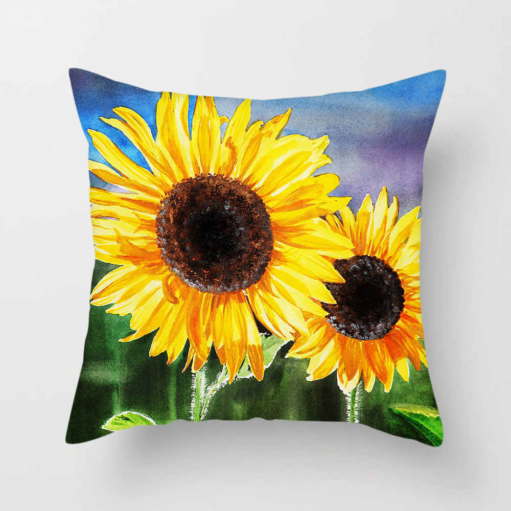 TTLIFE Floral Painted Cushion Covers Yellow Throw Pillows Sunflower Sun Pillow Cover for Home Sofa Chair Decoration 2019