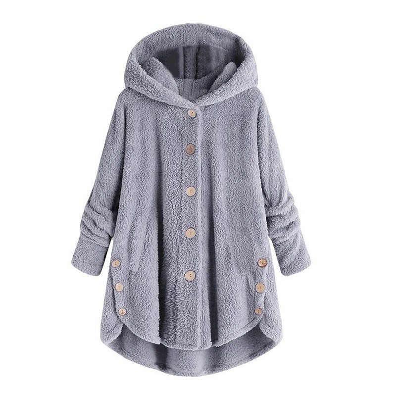 Женское пушистое пальто, зимнее, повседневное, свободное, однотонное, на пуговицах, неровный флис, с капюшоном, плюшевое, шерстяное пальто, женская Милая теплая верхняя одежда, большой размер 5XL