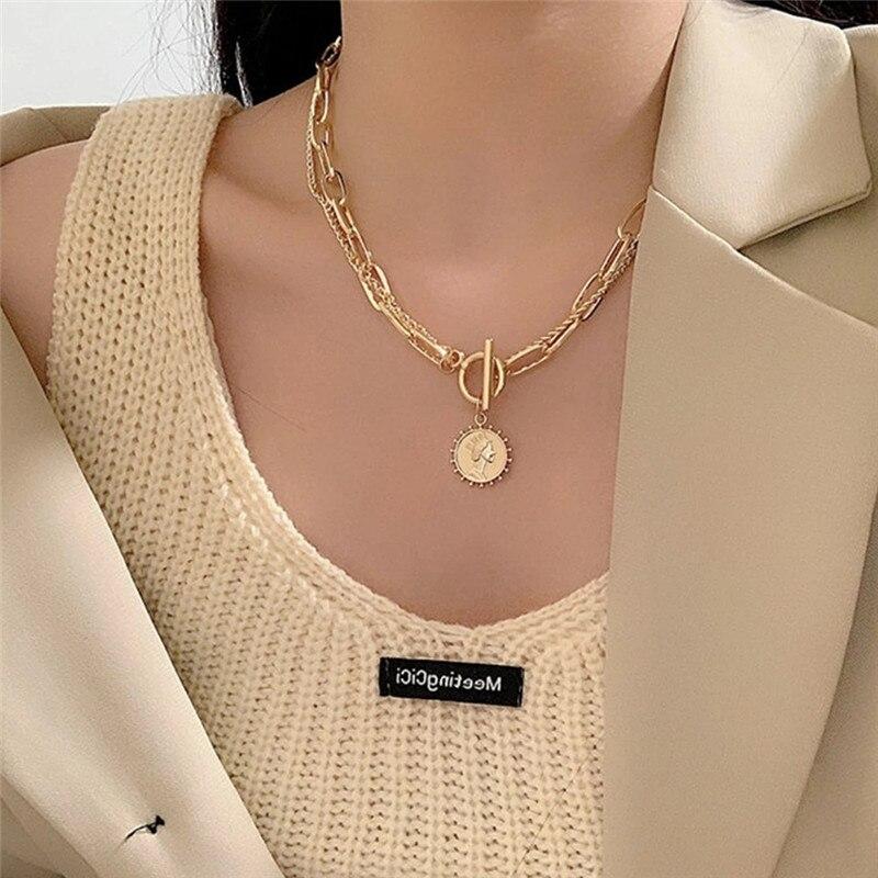 Винтажное резное ожерелье с толстой цепочкой и пряжкой, ожерелье в стиле бохо, панк, металлическое ожерелье-чокер с монетницей, модное женск...