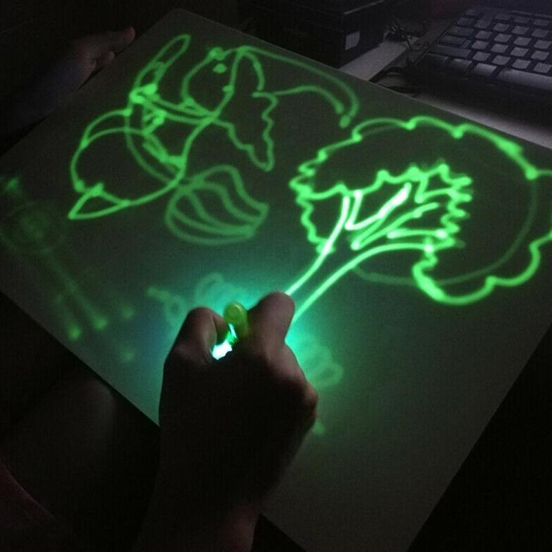 Fluorescent Writing Board Children Graffiti Drawing Board Toys With Light Luminous Message Board Early Educational Toy For Kids