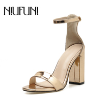 2019 Fashion Gold Peep Toe Women's Sandals Summer Belt Buckle Thick High Heels Plus Size 42 Women Sandals Casual Women's Shoes asumer gold light purple fashion summer ladies prom shoes peep toe buckle elegant super high women high heels sandals size 44