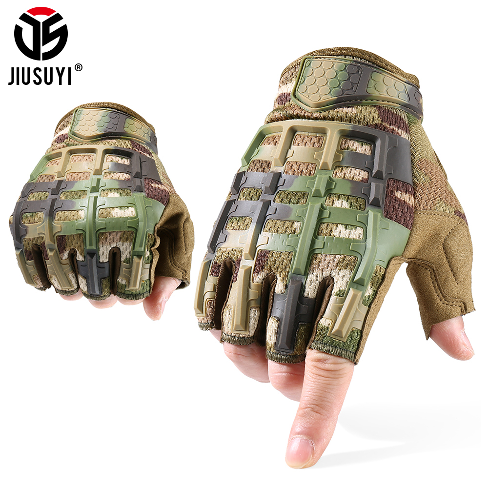 JIUSUYI Tactical Fingerless Glove Half Finger Gloves Army Military Mittens SWAT Camo Cycling Paintball Shooting Driving Men New
