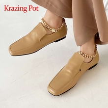Women Pumps Krazing-Pot Low-Heel Square Toe Brand Shoes Handsome Big-Size Young Chain