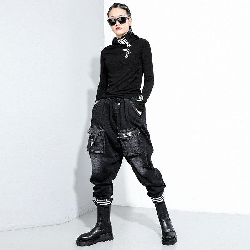 [EAM] Women Black Letter Printed Stitch Temperament T-shirt New Turtleneck Long Sleeve  Fashion Tide  Spring Autumn 2020 1Z835 3