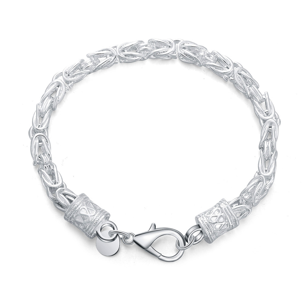 925-Sterling-Silver Chain Bracelet Jewelry Women Lobster Wedding for And Fashion Clasp