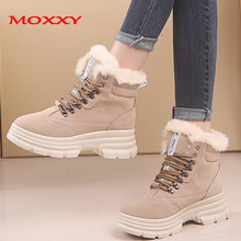 2019 New High Heel Snow Boots Warm Fur Plush Suede Comfort Round Toe Lace Up Chunky Sneakers Platform Winter Boots Ankle Boots цена 2017