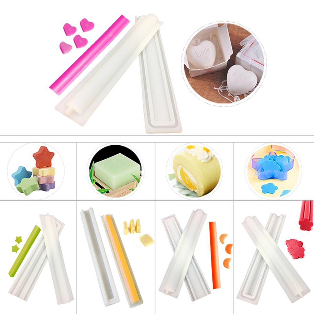 DIY Handmade Soap Mold Silicone Tube Shape Soap Mold Crystal Epoxy Mold Cake Biscuit Baking Mold Round Love Plum Five-pointed