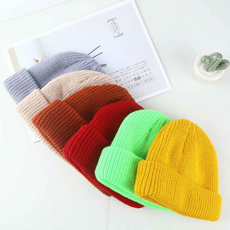 الاشياء الموضة الرجال النساء متماسكة قبعة تزلج الهيب هوب فارغة اللون شتاء دافئ للجنسين قبعة الصوف قبعة