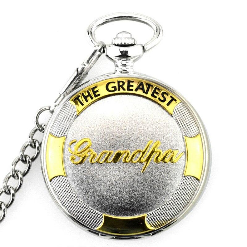 Pocket Watch Silver$Gold The Greatest Grandpa  Quartz Pocket Watch  With Belt Watch Chain Xmas Watch Gift Men/Women