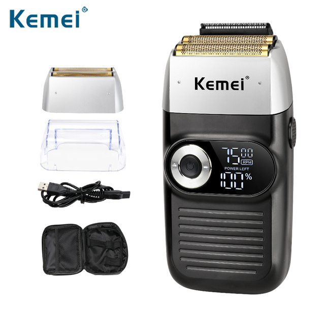 Kemei Rechargeable Electric Shaver LCD Display Portable Waterproof Reciprocating Cordless Men Reciprocating Razor Beard Trimmer 1