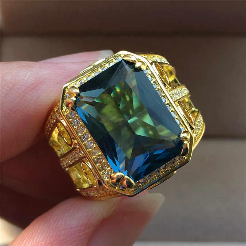 Роскошное мужское женское Большое Квадратное кольцо с голубым Цирконом модное свадебное кольцо из желтого золота кольца винтажное обручальное кольцо для мужчин и женщин