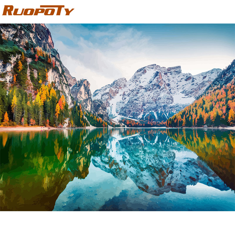 RUOPOTY Framed DIY Painting By Numbers Landscape Kit Acrylic Paint On Canvas Modern Wall Art Picture By Numbers For Living Room
