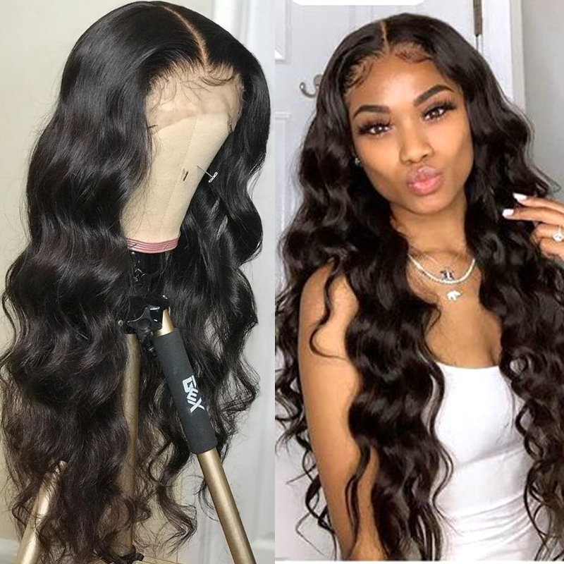 13*4 Glueless Lace Front Human Hair Wigs For Black Women Peruvian Body Wave Pre Plucked Lace Front Wigs With Baby Hair Non Remy
