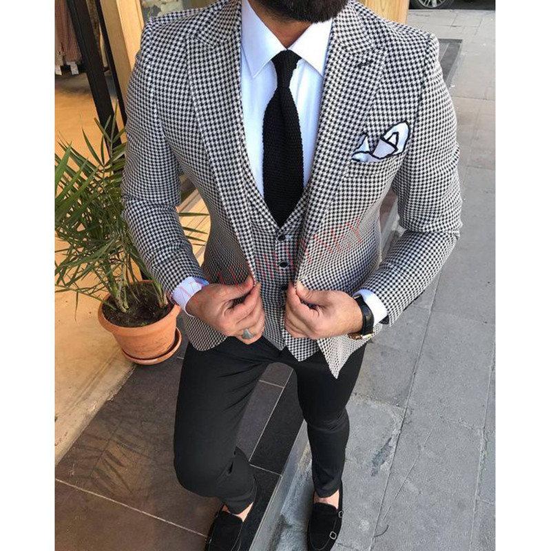 2020 Fashion Lattice Men's Suit Slim Fit Prom Wedding Suits for Men Groom Tuxedo Jacket Pants Set Custom White Casual Men Blazer 3