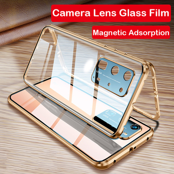 Magnetic Phone Case For Huawei P40 Pro Mate 30 Mate 20x 5G P30 P20 Camera Lens Glass Metal Bumper Honor X10 MAX 30S 9X 8X Case
