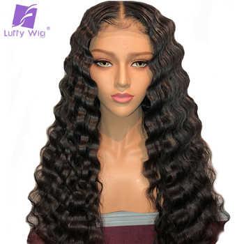 ディープウェーブレースフロント人間の髪かつら 13*6 レースフロントかつら Preplucked ベビーヘアー漂白ノットブラジルの Remy 女性のためのルフィ - DISCOUNT ITEM  49% OFF ヘアエクステンション & ウィッグ