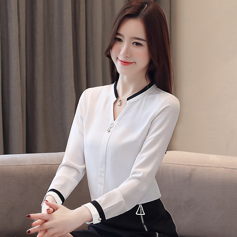 Korean Fashion Chiffon Women Blouse Autumn Long Sleeve White Women Shirts Plus Size XXL Blusas Femininas Elegante Ladies Tops in Blouses amp Shirts from Women 39 s Clothing